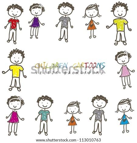 children cartoons over white background. vector illustration - stock vector