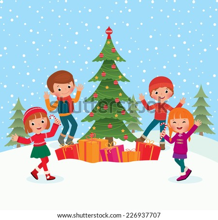 Children celebrate Christmas dancing at the Christmas tree/Children celebrate Christmas/Illustration of children having fun outdoor areas at the celebration of Christmas - stock vector