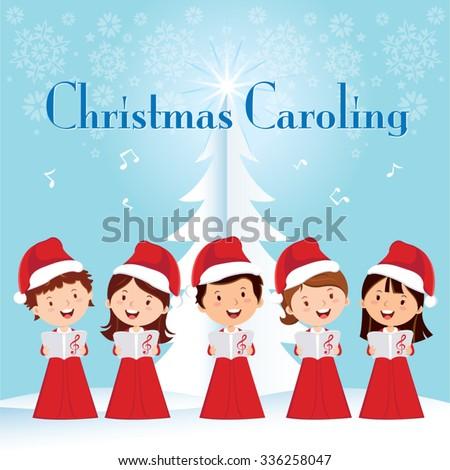 Children Christmas Caroling. Children choir singing.  - stock vector