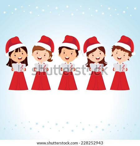 Children Christmas Choir. Christmas Carols. - stock vector