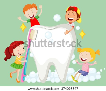 Children cleaning tooth with toothbrush illustration - stock vector