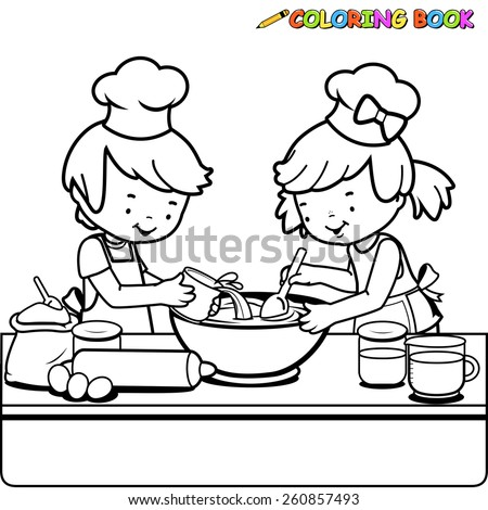 Children cooking coloring book page. Black and white outline image of a boy and a girl cooking in the kitchen.  - stock vector