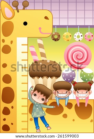 Children Day - happy smiling little girl and cute boys enjoy fun game with sugary and sweet food in amusement park on bright purple and green background with square patterns : vector illustration - stock vector