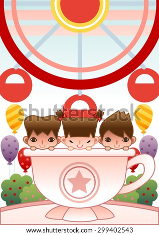 Children Day - happy smiling young girl and cute boys play game and ride with pink tea cup in theme amusement park on background with bright colorful purple and yellow balloons : illustration - stock vector