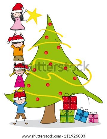 children decorating the Christmas tree - stock vector