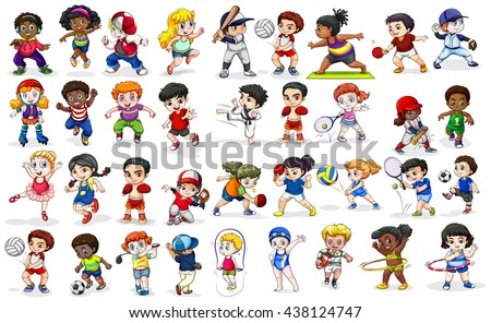 Children doing many sports and activities illustration - stock vector