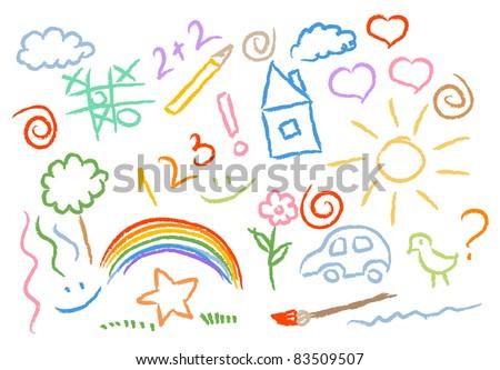 children drawing multicolored symbols set - stock vector