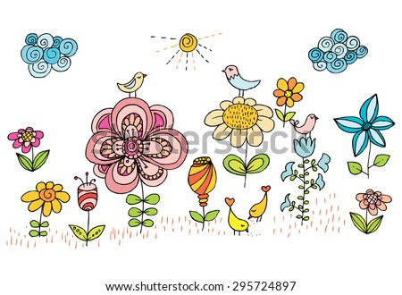Children drawing of flowers and birds. Colorful vector image with shining sun, sky clouds and floral pattern. - stock vector