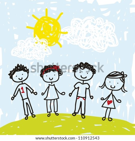 children drawing over landscape. vector illustration - stock vector