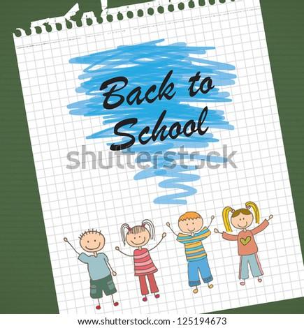 Children drawing over paper background vector illustration - stock vector