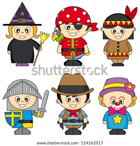 children dressed - stock vector
