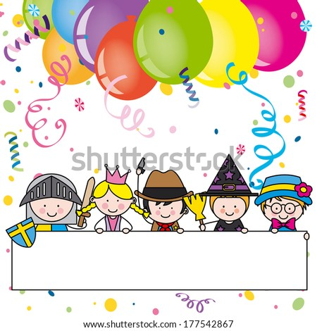 children dressed. Costume Party Invitation - stock vector