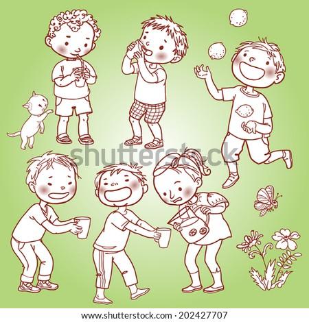 Children drinking lemonade. Monochrome. Black and White. Summer activities. Outline. Children illustration for School books, magazines, advertising and more. Separate Objects. VECTOR. - stock vector