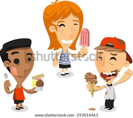 Children eating ice cream cones vector cartoon illustration - stock vector