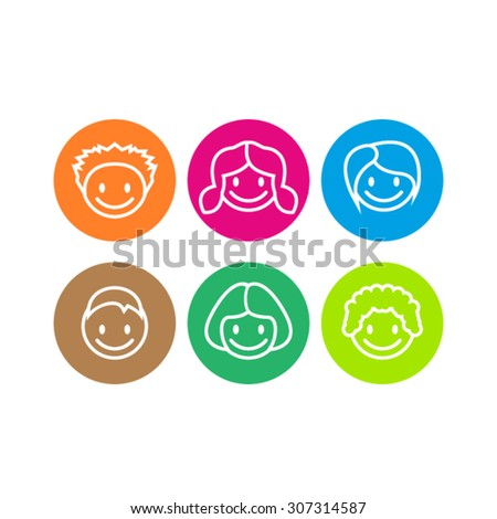 Children Face Icons - stock vector