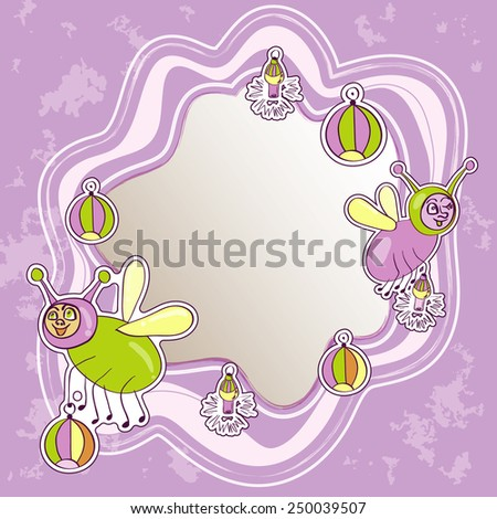 Children frame with insects - stock vector