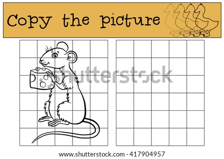 Children games: Copy the picture. Little cute mouse holds a cheese in the hands. - stock vector