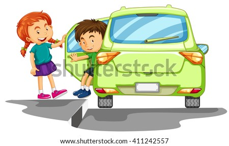 Children getting out of a car - stock vector