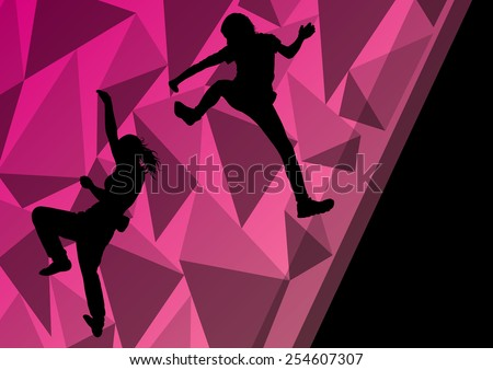 Children girl rock climbers sport athletes climbing wall in abstract silhouette background illustration vector - stock vector