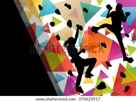Children girl silhouettes on climbing wall in active and healthy sport background illustration vector - stock vector