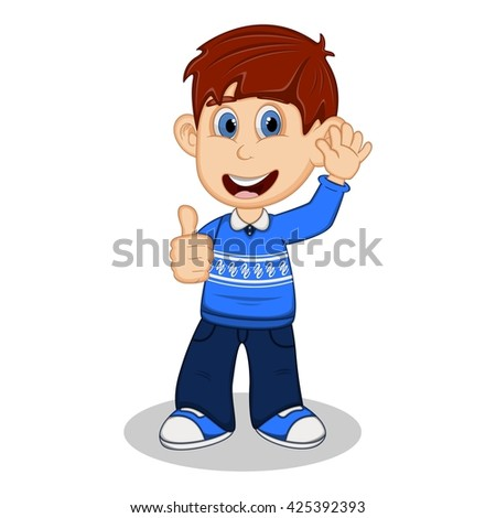 Children give thumbs up wearing blue long sleeve sweater and black trousers  cartoon vector illustration - stock vector