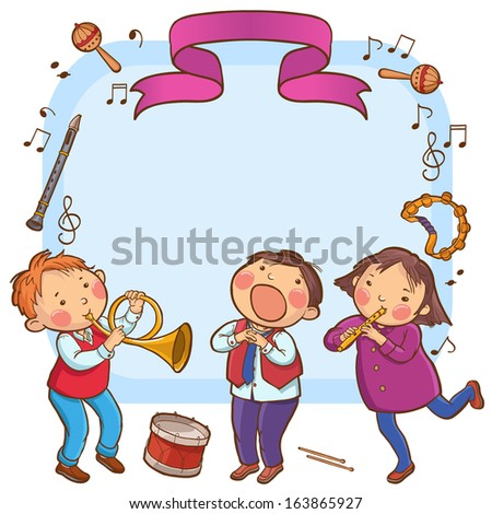 Children giving the concert placard. Back to School isolated objects on white background. Great illustration for a school books and more. VECTOR. Editorial. Education. Advertising. Board. - stock vector