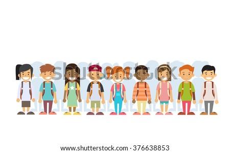 Children Group Mix Race Standing In Line Flat Vector Illustration - stock vector