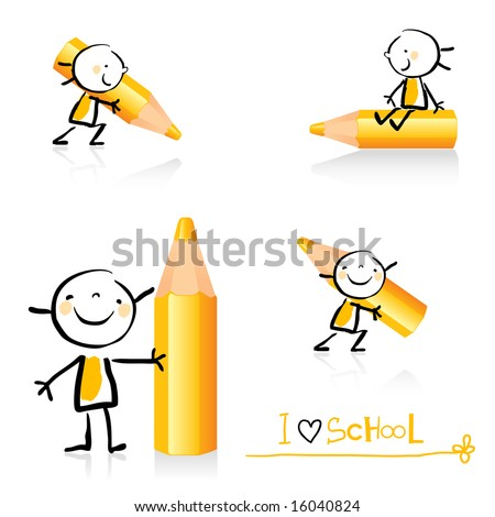 children hand-drawing style educational icon set. Cute girl character series, grouped and layered for easy editing. See similar in my portfolio - stock vector