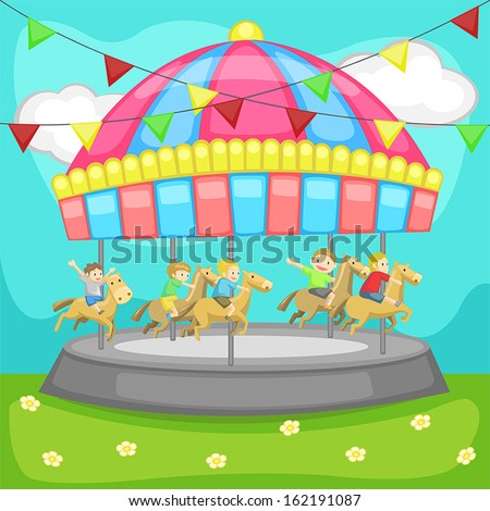 Children having a good time in a carousel, create by vector - stock vector