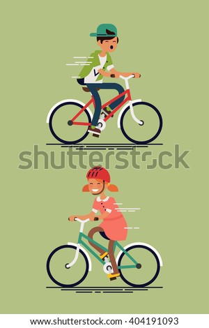 Children having fun riding bicycles. Kids having free time on weekend. Summer break outdoor recreation for kids. Happy boy and girl riding bike. Vector character design on kids having fun - stock vector
