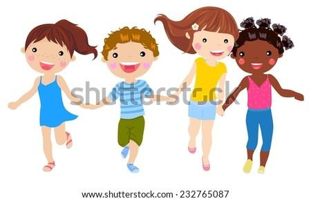 children holding hand running - stock vector
