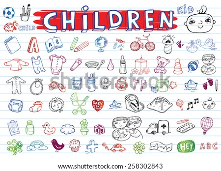 Children icon set  - stock vector