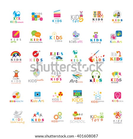 Children Icons Set-Isolated On White Background.Vector Illustration,Graphic Design. Kids Globe,Puzzle,Bunny - stock vector