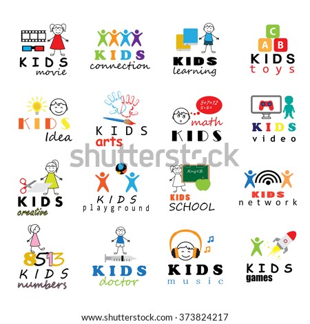Children Icons Set - Vector Illustration, Graphic Design. Collection Of Color Icons, For Web, Websites, Print, Presentation Templates, Mobile Applications And Promotional Materials  - stock vector