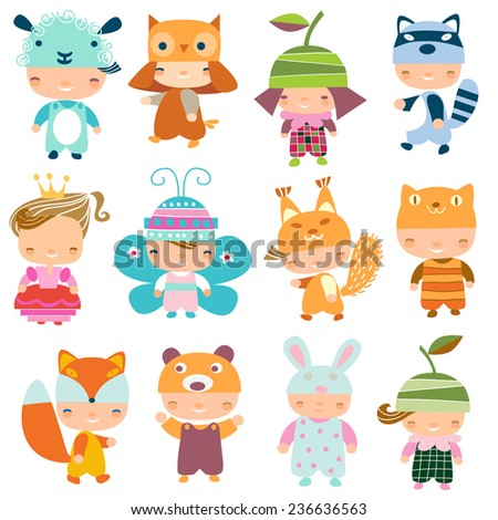Children in carnival costumes - stock vector