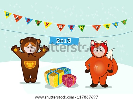 Children in carnival costumes.Fox and Bear.New Year - stock vector