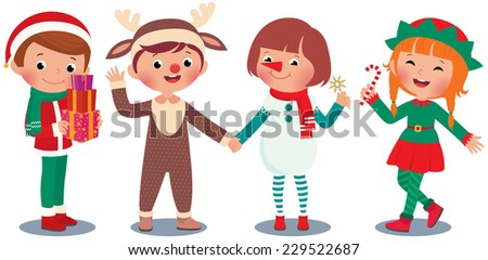 Children in Christmas costume characters celebrate Christmas/Children celebrating Christmas in Christmas Costumes/Illustration of children in costume deer and Santa Claus, snowman and elf - stock vector