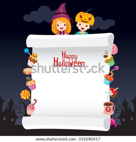 Children in Halloween Costume with Dessert on Banner, Holiday, Culture, Disguise, Ornate, Fantasy, Night Party - stock vector