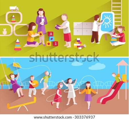 Children in kindergarten playing on ground and indoors horizontal banner set isolated vector illustration - stock vector