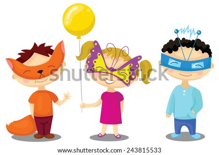 Children in masquerade costumes. Illustration for Italian Carnevale or Halloween - stock vector