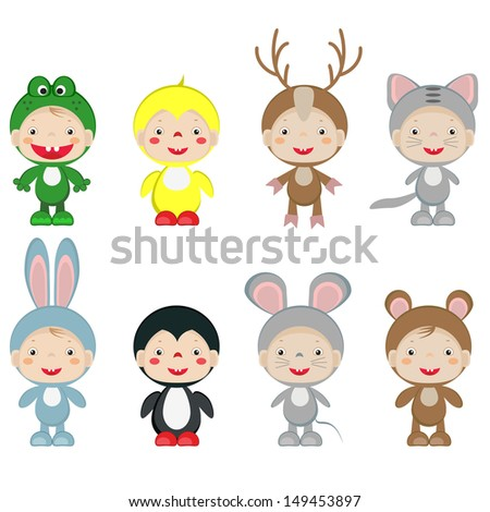 Children in the costumes of the animals,vector set.. - stock vector
