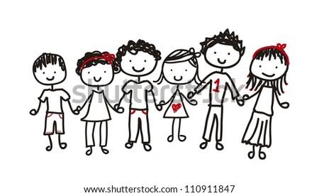 children isolated over white background. vector illustration - stock vector