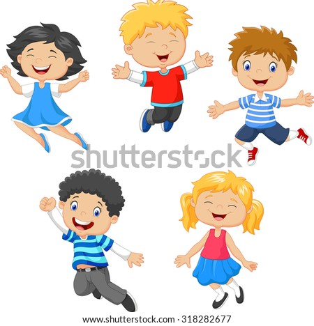 children jumping together - stock vector