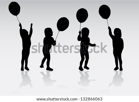 Children , kids - black silhouettes, vector work - stock vector