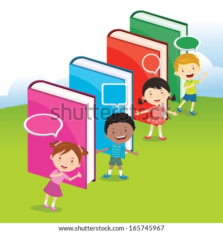 Children love books. To promote a reading culture, Multinational kids having activities with multicolor big books. - stock vector