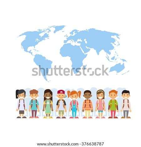 Children Mix Race Group Over World Map International Concept Flat Vector Illustration - stock vector