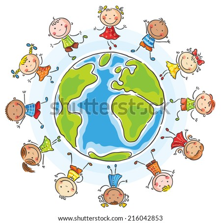 Children of different nationalities round the globe - stock vector