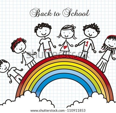 children over rainbow, back to school. vector illustration - stock vector