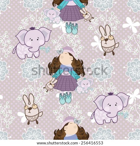 Children pattern with girl, elephants and flowers for the textile, fabric samples, paper - stock vector