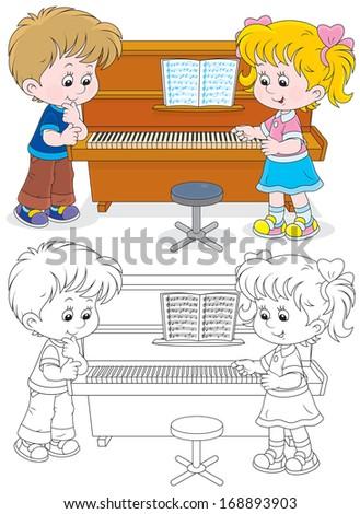 Children play a piano - stock vector